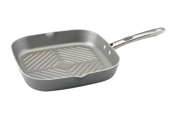 Farberware Specialties Aluminum Nonstick 11-inch Square Grill with Pour Spout - Platinum~20832