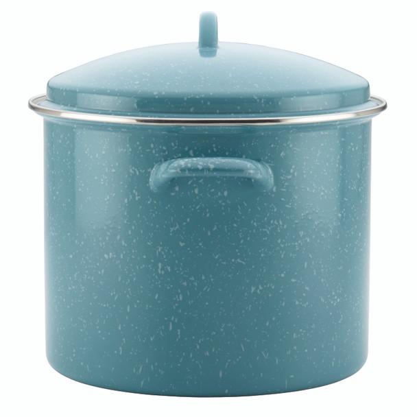 Paula Deen Enamel-on-Steel 12-Quart Covered Stock Pot - Gulf Blue Speckle~46257