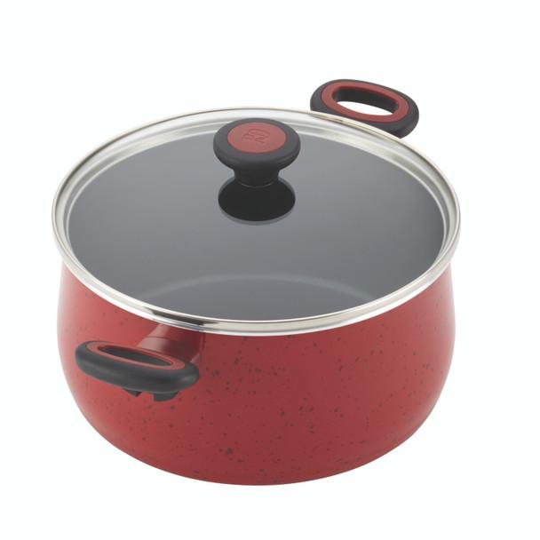 Paula Deen Riverbend Aluminum Nonstick 12-Piece Cookware Set - Red Speckle~16991