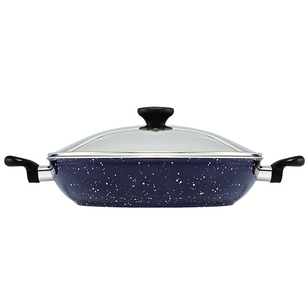 Paula Deen Riverbend Aluminum Nonstick 12.5-inch Covered Chicken Fryer with Side Handles - Deep Blue Speckle~13794