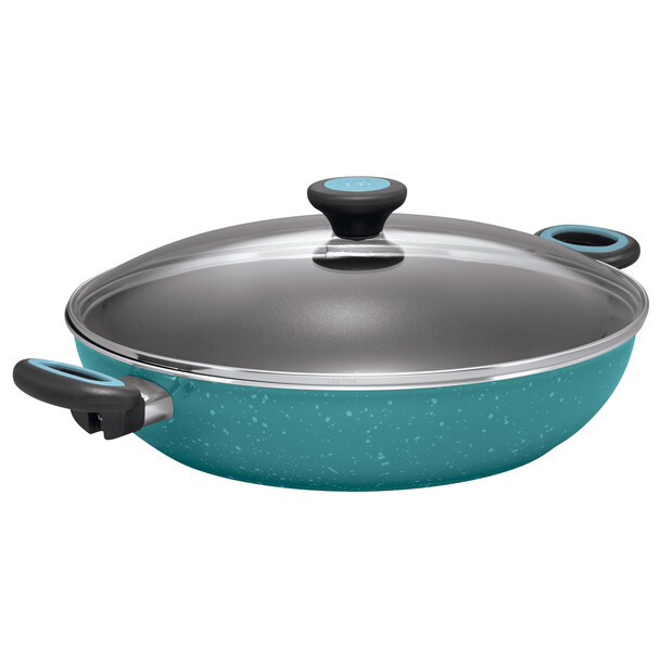 Paula Deen Riverbend Aluminum Nonstick 12.5-inch Covered Chicken Fryer with Side Handles - Gulf Blue Speckle~16982