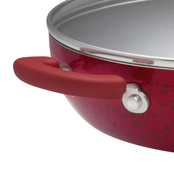 Paula Deen Signature Porcelain Nonstick 12-inch Covered Chicken Fryer - Red Speckle~12476
