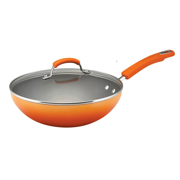 Rachael Ray Classic Brights Hard Enamel Nonstick 11-inch Covered Soup, Sauce, and Sauté Pan - Orange Gradient~11486