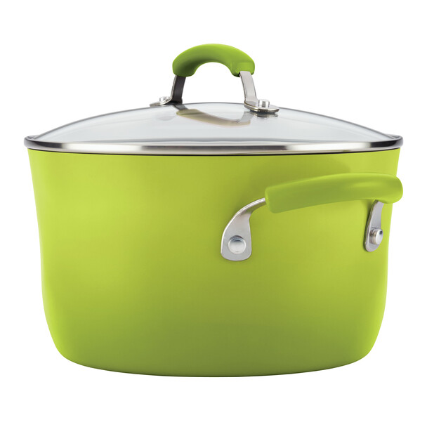 Rachael Ray Classic Brights Hard Enamel Nonstick 14-Piece Cookware Set - Green Gradient~17506