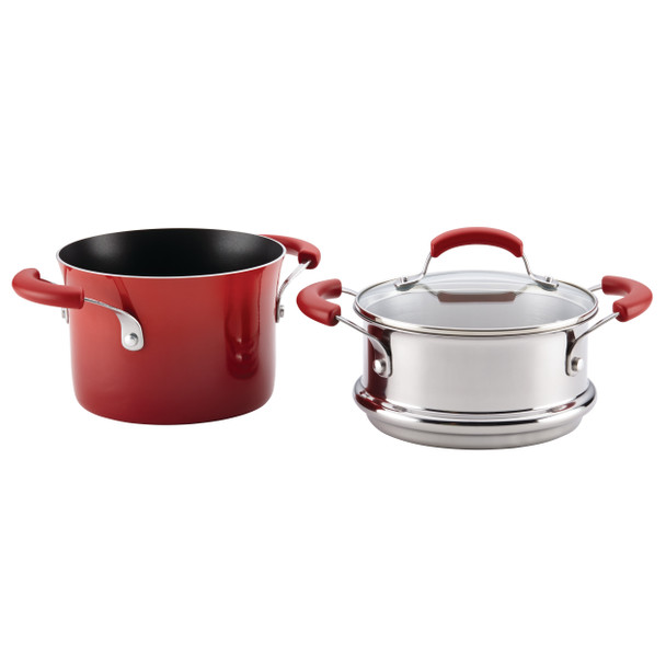 Rachael Ray Classic Brights Hard Enamel Nonstick 3-Quart Covered Steamer Set - Red Gradient~14484
