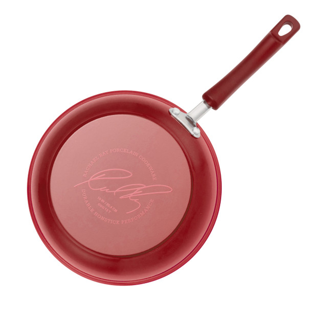 Rachael Ray Classic Brights Hard Enamel Nonstick 9.25-inch and 11-inch Skillets Twin Pack - Red Gradient~11649