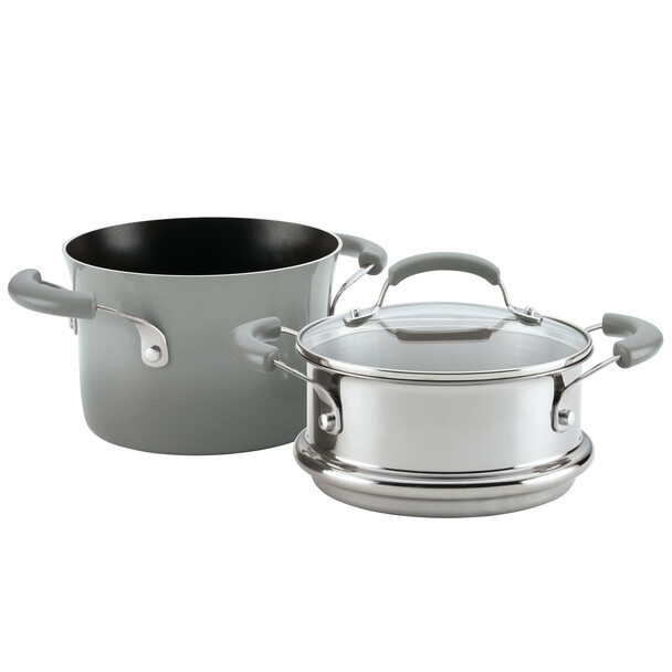 Rachael Ray Classic Brights Nonstick 3-Quart Sauce Pot and Steamer Insert Set - Sea Salt Gray Gradient~18807