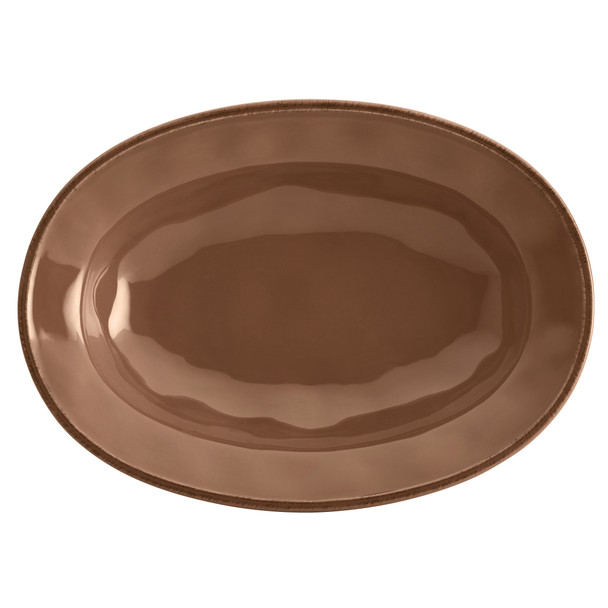 Rachael Ray Cucina Dinnerware 12-inch Stoneware Oval Serving Bowl - Mushroom Brown~57409