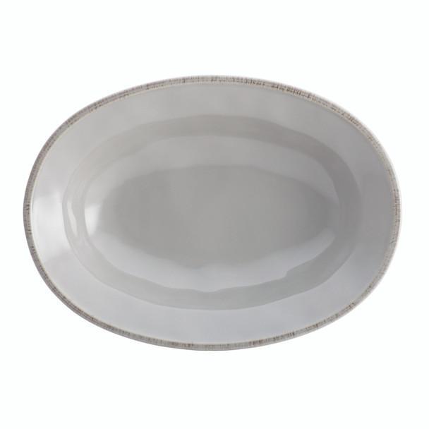 Rachael Ray Cucina Dinnerware 12-inch Stoneware Oval Serving Bowl - Sea Salt Grey~46298
