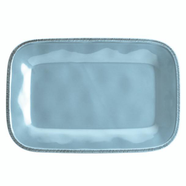 Rachael Ray Cucina Dinnerware 8-inch x 12-inch Stoneware Rectangular Platter - Agave Blue~57231