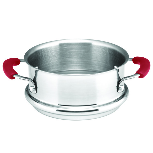 Rachael Ray Cucina Hard Porcelain Enamel Nonstick 3-Quart Multi-Pot/Steamer Set - Cranberry Red~16800