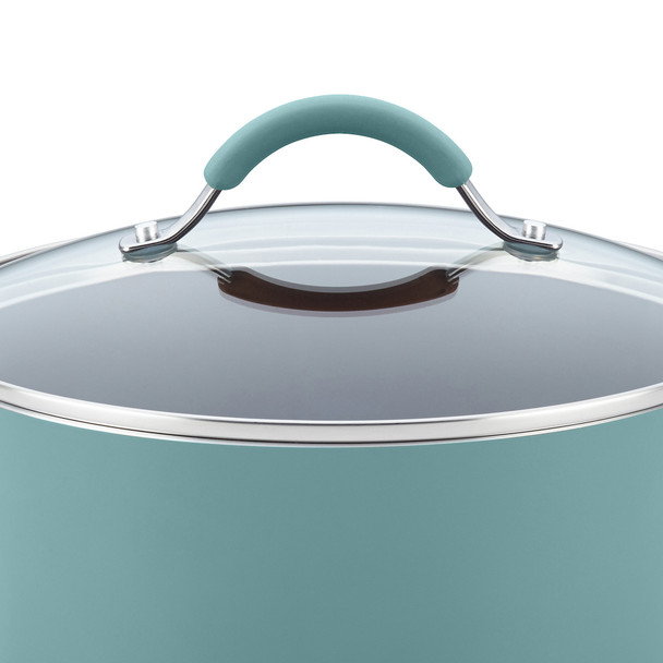 Rachael Ray Cucina Hard Porcelain Enamel Nonstick 8-Quart Covered Oval Pasta Pot with Spout - Agave Blue~16348