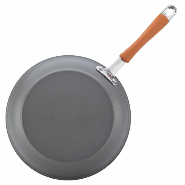 Rachael Ray Cucina Hard-Anodized Aluminum Nonstick 12-Piece Cookware Set - Gray with Pumpkin Orange Handles~87635