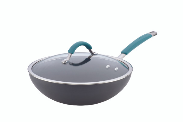Rachael Ray Cucina Hard-Anodized Nonstick 11-inch Covered Stir Fry Pan - Gray with Agave Blue Handles~87644