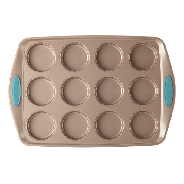 Rachael Ray Cucina Nonstick 12-Cup Bite-Size Baker - Latte Brown with Agave Blue Handle Grips~46684