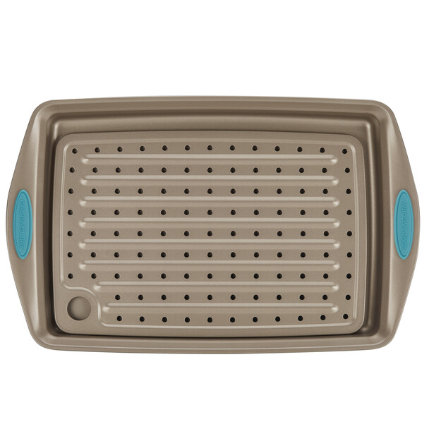 Rachael Ray Cucina Nonstick 2-Piece Crisper Pan Set - Latte Brown with Agave Blue Handle Grips~47426
