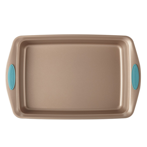 Rachael Ray Cucina Nonstick 9-inch by 13-inch Rectangle Cake Pan - Latte Brown with Agave Blue Handles~46682