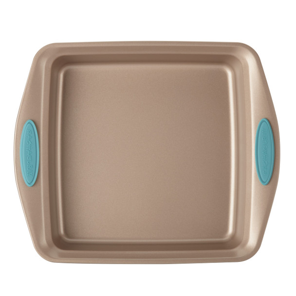 Rachael Ray Cucina Nonstick 9-inch Square Cake Pan - Latte Brown with Agave Blue Handles~46681