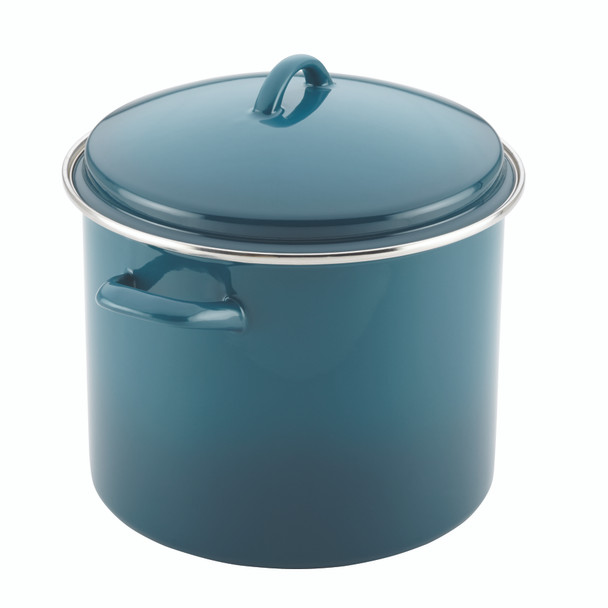 Rachael Ray Enamel-on-Steel 12-Quart Covered Stock Pot - Marine Blue~46326