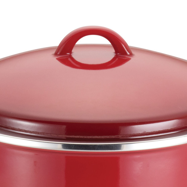 Rachael Ray Enamel-on-Steel 12-Quart Covered Stock Pot - Red Gradient~50497