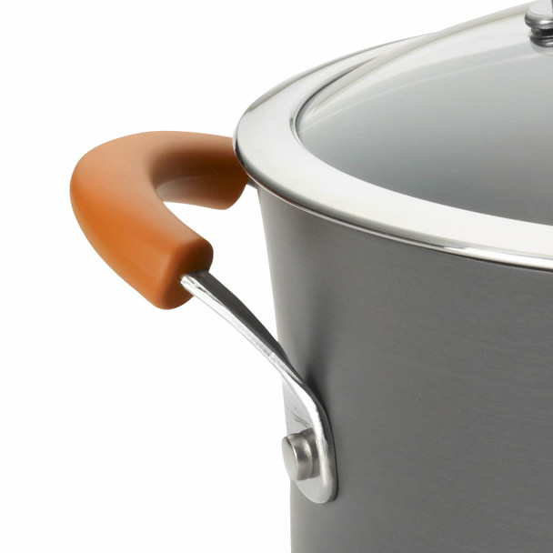Rachael Ray Hard-Anodized Nonstick 8-Quart Covered Oval Pasta Pot with Pour Spout - Gray with Orange Handles~87393