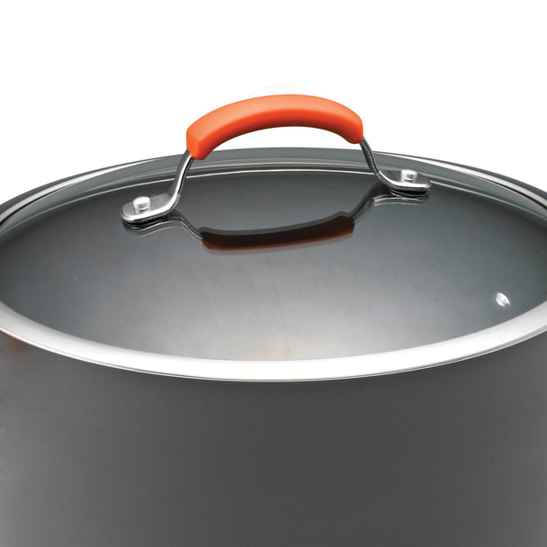 Rachael Ray Hard-Anodized Aluminum Nonstick 3-Quart Covered Sauce Pan - Gray with Orange Handle~87610