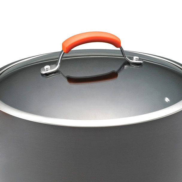 Rachael Ray Hard-Anodized Nonstick 10-Quart Covered Stock Pot - Gray with Orange Handles~87497
