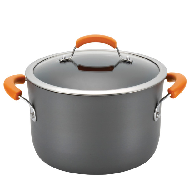 Rachael Ray Hard-Anodized Nonstick 14-Piece Cookware Set - Gray with Orange Handles~87000