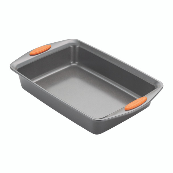 Rachael Ray Nonstick 9-inch x 13-inch Covered Cake Pan - Gray with Orange Lid and Handles~57994