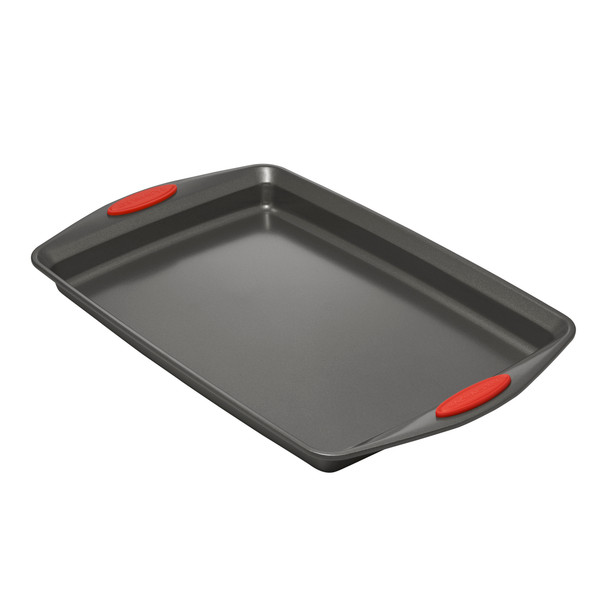 Rachael Ray Nonstick 3-Piece Cookie Pan Set - Gray with Red Silicone Grips~47423