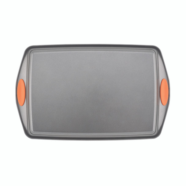 Rachael Ray Yum-o! Nonstick 11-inch x 17-inch Oven Lovin' Crispy Sheet Cookie Pan - Gray with Orange Handles~54071