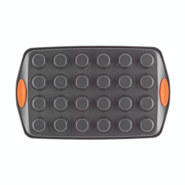 Rachael Ray Yum-o! Nonstick 24-Cup Oven Lovin' Mini Muffin Pan - Gray with Orange Handles~54077
