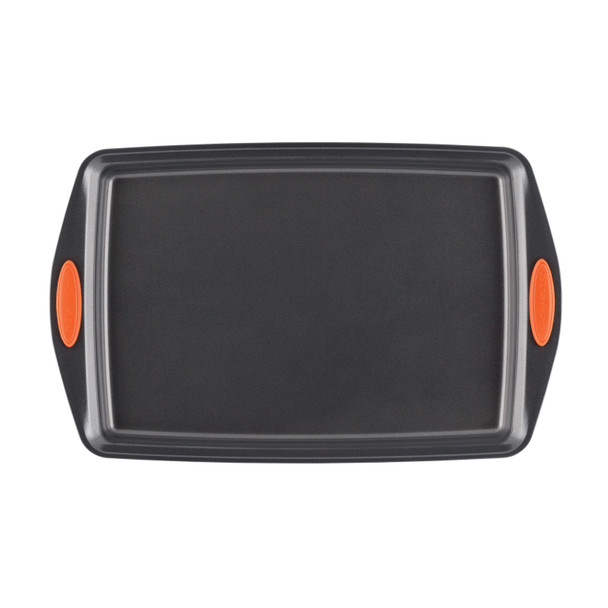 Rachael Ray Yum-o! Nonstick 3-Piece Oven Lovin' Cookie Pan Set - Gray with Orange Silicone Grips~56524
