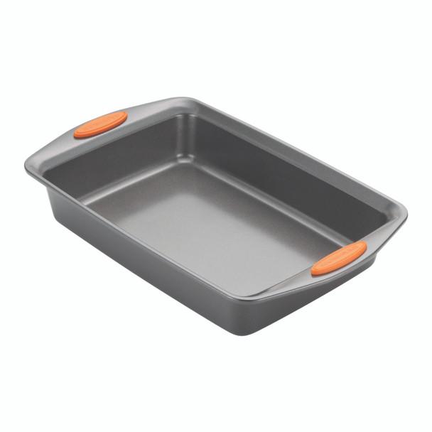 Rachael Ray Yum-o! Nonstick 5-Piece Oven Lovin' Bakeware Set - Gray with Orange Handles~55673