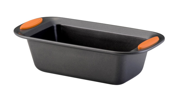 Rachael Ray Yum-o! Nonstick 9-inch x 5-inch Oven Lovin' Loaf Pan - Gray with Orange Handles~54079