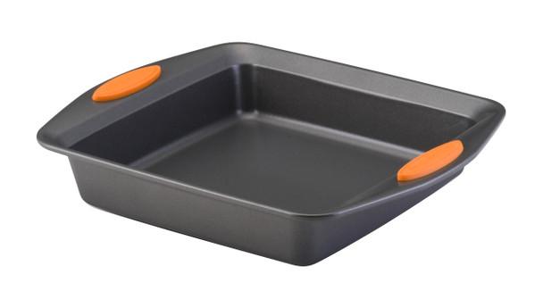 Rachael Ray Yum-o! Nonstick 9-inch Oven Lovin' Square Baking Pan - Gray with Orange Handles~54074
