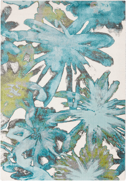 Aberdine Watercolor Floral Aqua Blue Rug~ABE8003