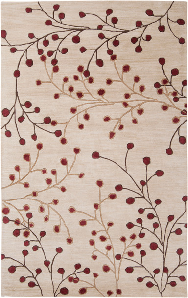 Athena Vine Hand Tufted Burgundy and Taupe Wool Rug~ATH5053
