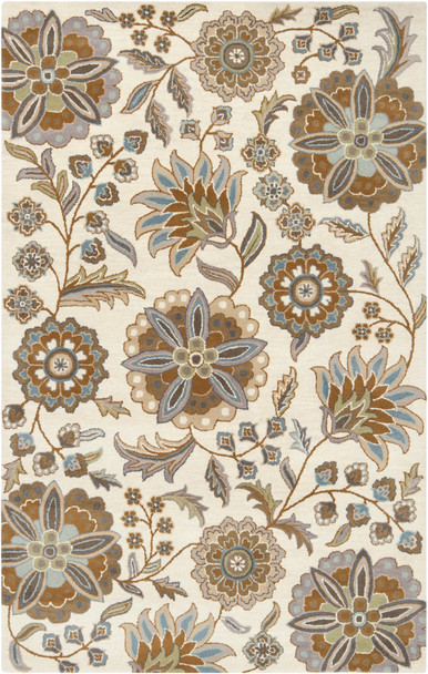 Athena Open Floral Hand Tufted Wool Tan Rug~ATH5063