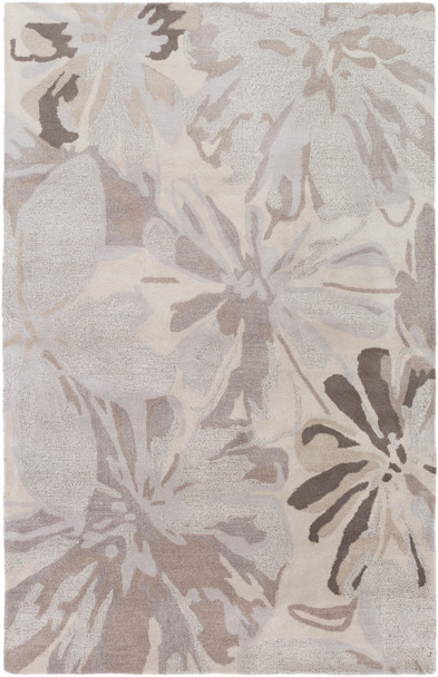 Athena Large Floral Hand Tufted Gray and Taupe Wool Rug~ATH5135