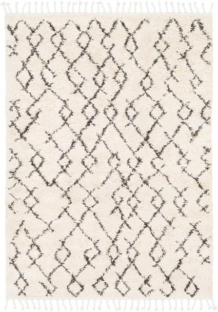 Berber Shag Boho Triangle Beige and Charcoal Gray Rug~BBE2301