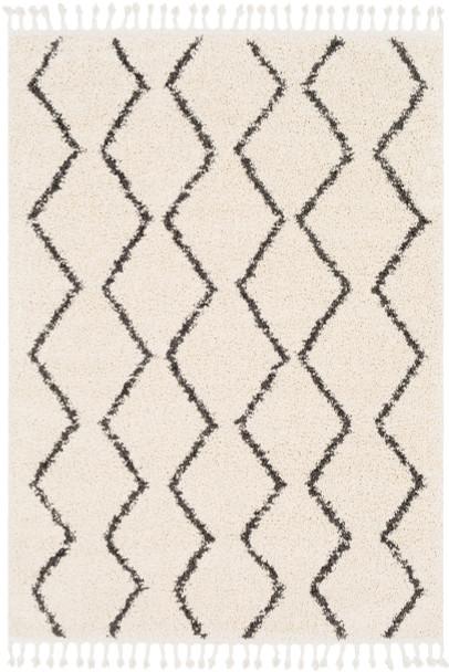 Berber Tribal Shag Charcoal Gray and Beige Rug~BBE2303