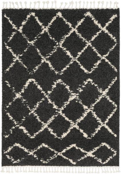 Berber Shag Tribal Lattice Diamond Charcoal Gray and Beige Rug~BBE2307