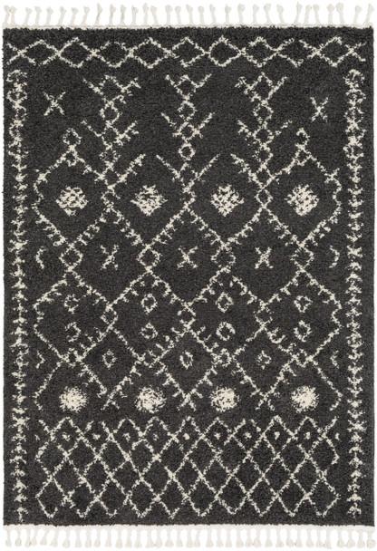 Berber Shag Tribal Modern Diamond Charcoal Gray and Beige Rug~BBE2308