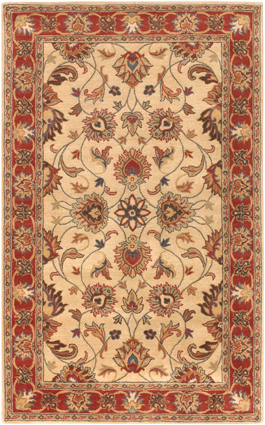 Caesar Traditional Hand Tufted Camel and Burnt Orange Wool Rug~CAE1001