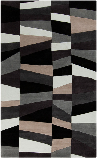 Cosmopolitan Modern Abstract Charcoal and Gray Rug~COS9188