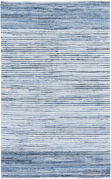 Denim Rag Rug Cotton Hand Woven Blue Rug~DNM1001