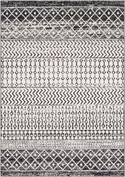 Elaziz Modern Tribal Black and Gray Rug~ELZ2307