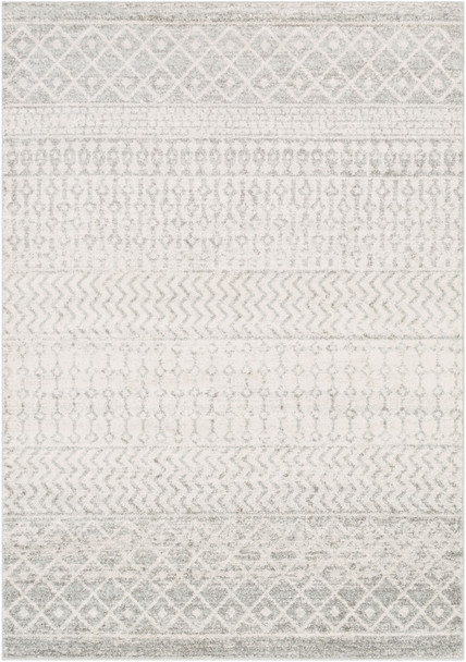 Elaziz Light Gray and White Tribal Rug~ELZ2308