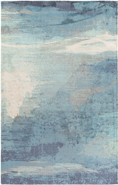 Felicity Watercolor Sky Blue and Gray Rug~FCT8000
